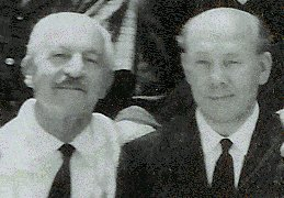 'Grandpa Jack' Mavros (left) with the author, Percy Gutteridge, at the 1968 Summer Bible Teaching Conference at Camp Seeley, Crestline, California, USA