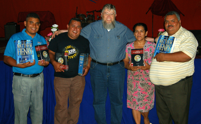 Nicaraguan pastors with new Bible reference books