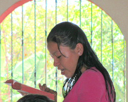 Guatemalan sister reading her Bible