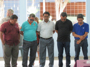 At the May 2017 Pastors' Retreat, praying over the Guate five-man teaching team -- [L-R: Pastores Walter Almarás, Victor Manuel Santos, Edwin Reyes, Fermin Chávez, and Jorge Pérez] -- headed for Honduras May 2017