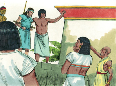 Joseph sold as a slave in Egypt. Image under a CC BY-SA 3.0 license from http://sweetpublishing.com from their website at http://pub.distantshores.org/resources/illustrations/sweet-publishing/.