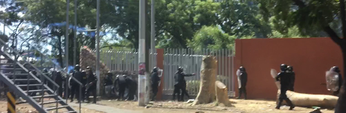 Nicaraguan police action around university in Managua on April 19, 2018