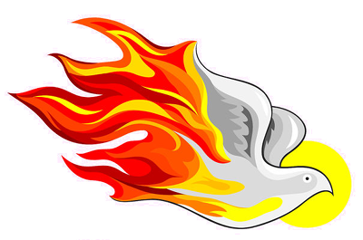 Symbolic graphic of flames forming a dove, used under license from 123RF.com