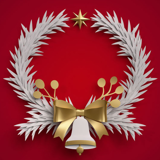 Wreath and bell image, used under license from www.123rf.com (profile_katisa/123RF Stock Photo)