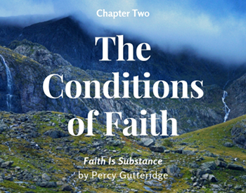 Chapter title 'The Conditions of Faith' on a mountain scenery backdrop