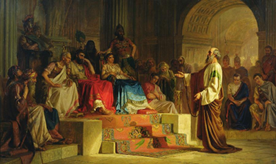 Painting of St. Paul on trial before Festus, King Agrippa II and Berenice