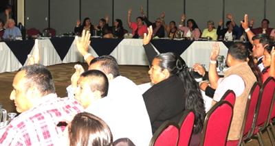Photo of ISP delegates voting