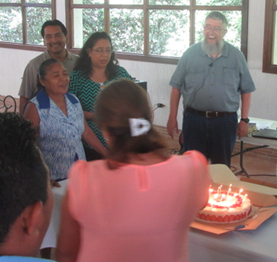 A birthday celebration for Jim at ESUM Guatemala 2019