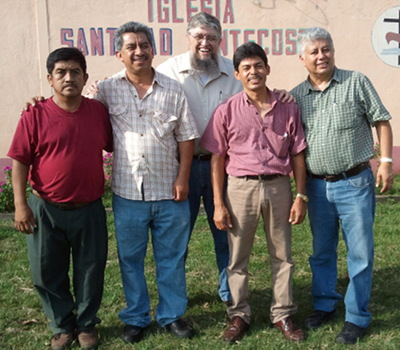 Jim with four Guatemalan leaders