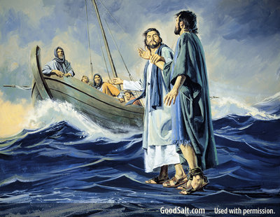 Image of Jesus and Peter walking on the water back to the boat.