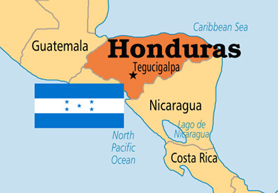 Map of Honduras with Flag