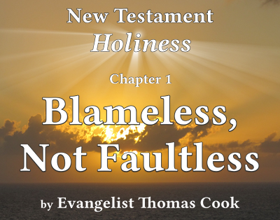 Graphic for the title of this chapter, 'Blameless, Not Faultless', part of the book 'New Testament Holiness' by Thomas Cook