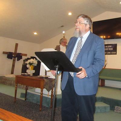 Photo Jim Kerwin sharing at Morning Star Church, Scottsville, Virginia