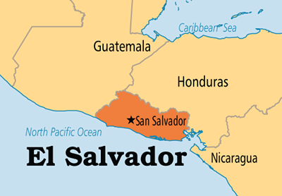 Map of El Salvador and its neighboring countries is courtesy of Operation World.