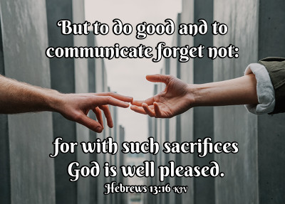 Hand-reaching-hand graphic for Hebrews 13:16