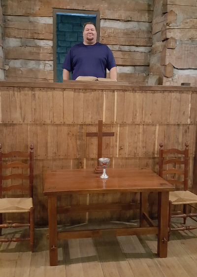 Photo of the Cane Ridge Meeting House pulpit as seen from the front pew