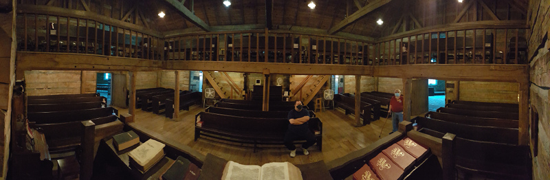 Panoramic view of the interior of the Cane Ridge Meeting Hall as seen from the pulpit.