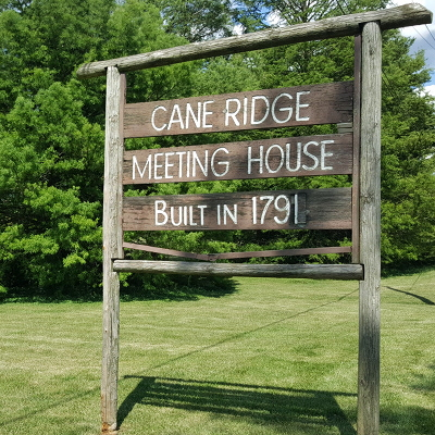 Photo of Cane Ridge Meeting House sign