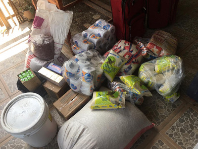 Image of bulk food items purchased for distribution in Ocotál, Nicaragua