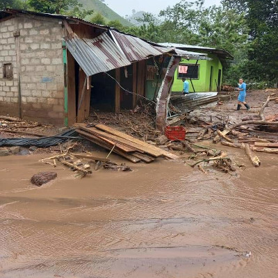 The aftermath of hurricane flooding in Quilalí, Nicaragua