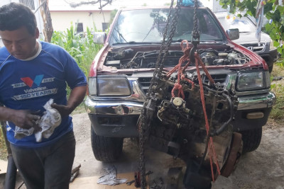 Photo of a successful engine removal