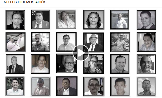 Collage of the photos of 24 pastors who died of COVID in Nicaragua during 2020. This graphic functions as a link to launch the video on Facebook.com