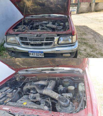 Two photos of a pickup truck's diesel engine