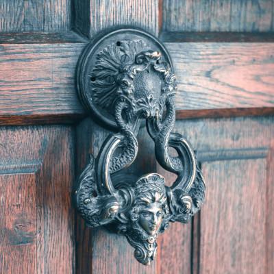 Photo of an ornate metal door knocker